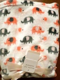 Modern Baby Girls Lightweight Lux Plush Elephant Baby Blanke
