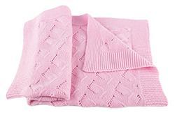 Girls Luxury 100% Cashmere Baby Blanket - 'Baby Pink' - hand