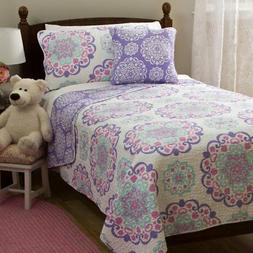 Girls Medallion Quilt Full Queen Set Cute Flowers Mandala Mo