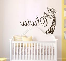 Girls Name Wall Decal, Giraffe Vinyl Sticker, Safari Nursery