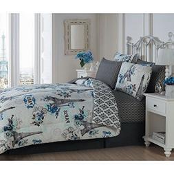 8 Piece Girls Paris Love Themed Comforter Set Queen Size, Al