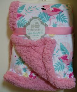 Girls Cribmates Pink Flamingo Very Soft Plush Baby Blanket