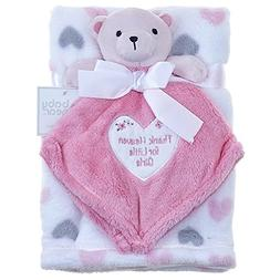 Baby Girls Pink and Grey Hearts Blanket with Teddy Bear Secu