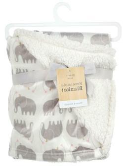 Modern Baby Girls Plush Blanket, Elephant, Gift, Sherpa, Sho