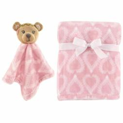 HUDSON BABY GIRLS PLUSH BLANKET & SECURITY BLANKET SET 30 X