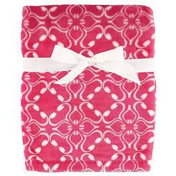 """Hudson Baby Girls Silky Plush Blanket 30"""" x 40"""" Pink Bolssom"""