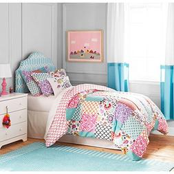 3 Piece Girls White Pink Boho Patchwork Comforter Full Queen