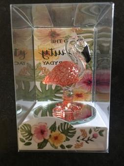 "Glass Pink Flamingo Figurine Design 2.25"" Inch High On Mir"