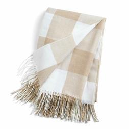 Good Manors Buffalo Plaid Throw Blanket With Fringe, Farmhou