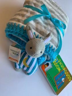 Goodnight Moon Crocheted Baby Blanket Gift Set- 3 Piece