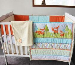 Grass Tree Fox Baby Crib Nursery Bedding Set Quilt Skirt She