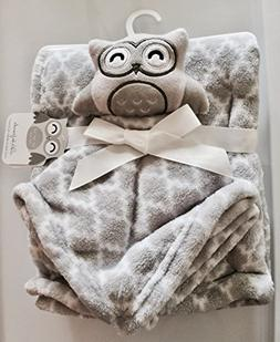 Let's be friends Gray Baby Blanket plus Owl plush toy