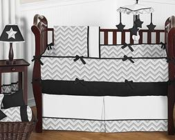Sweet Jojo Designs 9-Piece Gray and Black Chevron Zig Zag Un