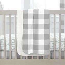 Carousel Designs Gray Buffalo Check Crib Blanket