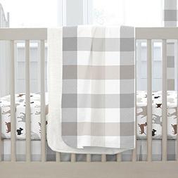 Carousel Designs Gray and Taupe Buffalo Check Crib Blanket