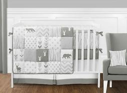 Sweet Jojo Gray White Deer 9pc Newborn Unisex Baby Crib Bedd