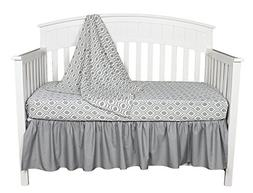 Gray and White Ogee 3 Piece Unisex Neutral Baby Crib Bedding