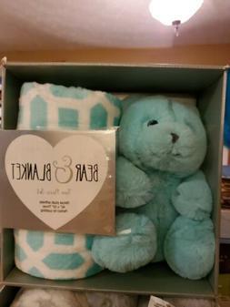 SILVER  ONE GrayPlush Bear & Blanket Throw Gift Set Boxed