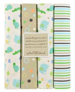 Koala Baby Green & Tan 4-Pack Receiving Blankets with Elepha