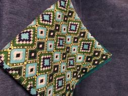 Green Aztec  baby receiving blanket lap blanket beach blanke