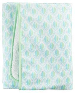 Carter' s Green Geo Velboa Blanket, White/Blue/Green, Newbor