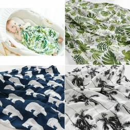 Green Leaf Newborn Cotton Soft Baby Blanket Swaddling Baby B