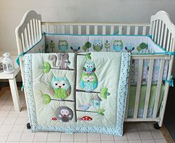 Green Owl Bird Embroidered 7pcs crib set Baby Bedding Set Cr