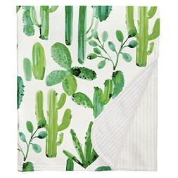 Carousel Designs Green Painted Cactus Crib Blanket