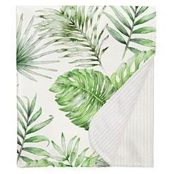 Carousel Designs Green Painted Tropical Crib Blanket