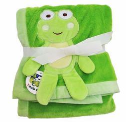 "Green Plush 2 Ply PV Baby Boy Blanket, 3D Frog Design, 30""x4"