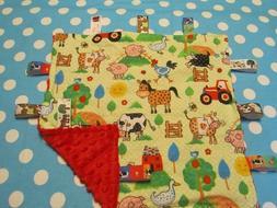 Green Polka Dot Farm Animal Flannel/Minky Baby Tag Ribbon Se
