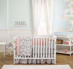 Grey Dahlia 4-In-1 Baby Girl Crib Bedding Collection by Balb