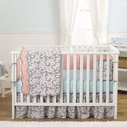 Grey Dahlia 8-In-1 Baby Girl Crib Bedding Collection by Balb