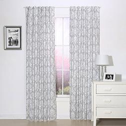 Grey Damask Print Window Drapery Panels - Set of Two 84 by 4
