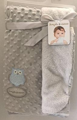 Blankets & Beyond Grey Dot Blanket with Owl Applique