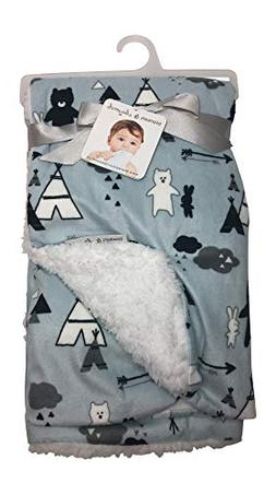 Blankets and Beyond Teepee,Bear, Rabbit Arrow Print Blue Bab