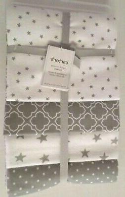 Carter's Grey Stars 4 Pack Flannel Receiving Blankets