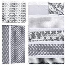 3 Piece Grey White Black Baby Colorful Crib Bedding Set, New