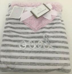 Koala Baby Grey White Pink LOVE Striped Plush Baby Girl Blan