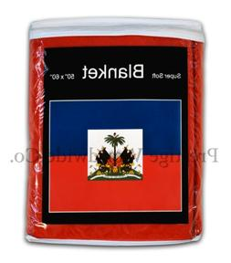 Haiti Flag Fleece Blanket 5 ft. x 4.2 ft. Haitian Travel Thr