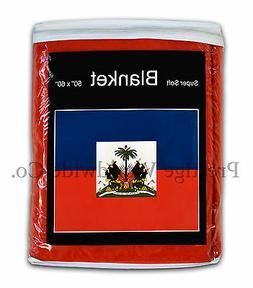 Haiti Flag Fleece Blanket *NEW* 5 ft. x 4.2 ft. Haitian Trav