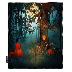 Moslion Halloween Blanket Scary Forest with Tree Pumpkin Evi