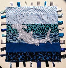 Hammerhead ~ Ribbon Baby Blanket with Ribbon Tabs 21in. X 21