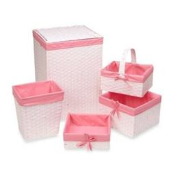 Redmon 5-Piece Hamper Set with Pink Liners in White by Redmo