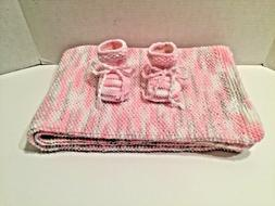 HAND CRAFTED Knitted Pink Multi Color Baby Blanket and Booti