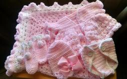 HAND CROCHET BABY  BLANKET PINK/WHITE-SET OF 5 , HELP A CANC