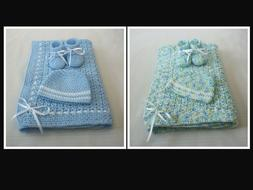 Hand-Crochet Baby Set - Blanket, Hat, Booties Newborn Infant