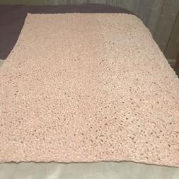 Hand Crocheted Soft Bernat Velvet Baby Blanket Pink