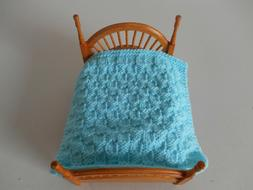 HAND KNIT MINIATURE DOLLHOUSE DOLL BABY BLANKET BED COVER AQ