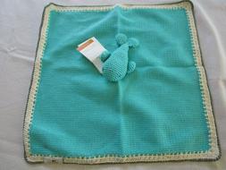 HAND KNIT Pima Cotton Baby Blanket LUVIE, LOVEY, WHALE, AQUA